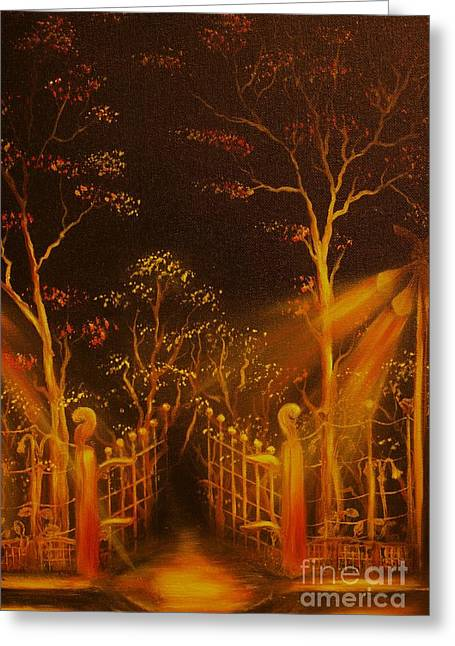 Streetlight Greeting Cards - ORIGINAL SOLD-Parks Gate- Private Collection-Buy Giclee Print Nr 19 Greeting Card by Eddie Michael Beck