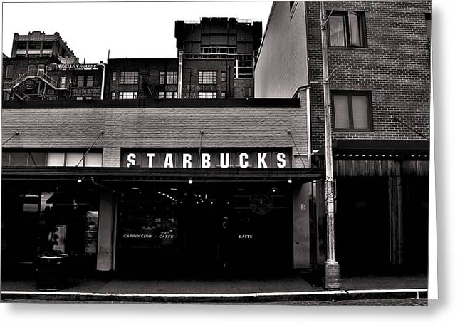 Iconic Places Greeting Cards - Original Starbucks Black And White Greeting Card by Benjamin Yeager