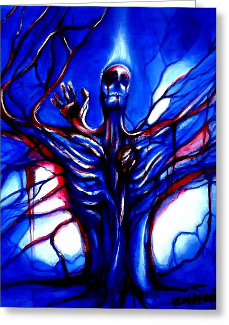 Tree Roots Paintings Greeting Cards - Superego Greeting Card by Veronica Calderon