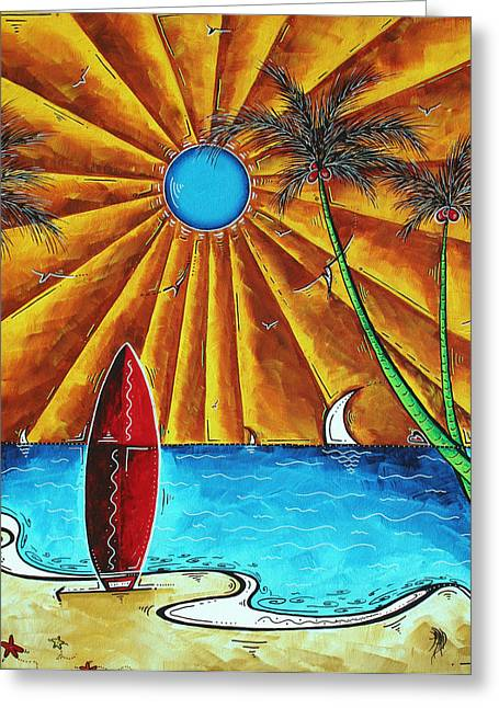 Original Tropical Surfing Whimsical Fun Painting Waiting For The Surf By Madart Greeting Card by Megan Duncanson