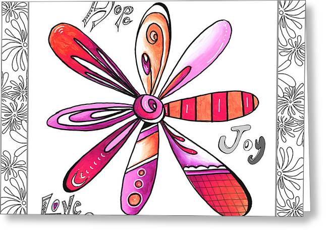 Uplifting Drawings Greeting Cards - Original Uplifting Inspirational Flower Quote Typography Art by Megan Duncanson Greeting Card by Megan Duncanson
