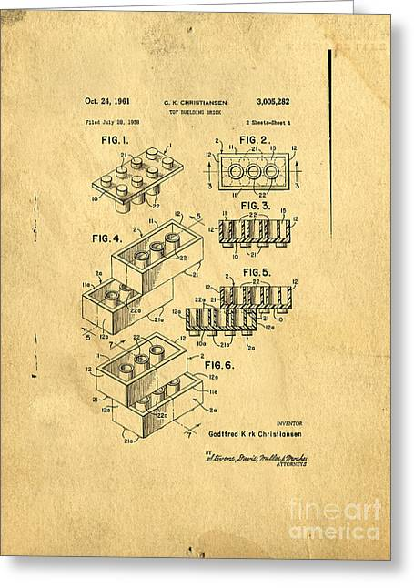 Drawn Greeting Cards - Original US Patent for Lego Greeting Card by Edward Fielding