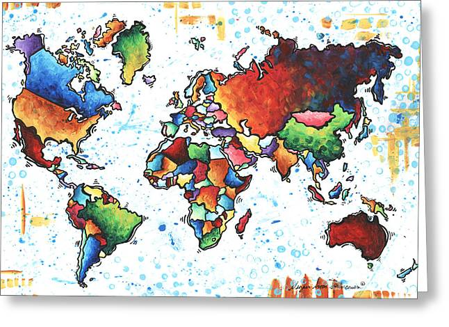 World Map Print Paintings Greeting Cards - Original Vibrant Colorful World Map PoP Art Style Painting by Megan Duncanson Greeting Card by Megan Duncanson