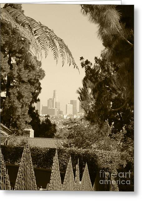 Decor Photography Pyrography Greeting Cards - Original Vintage Urban Landscape Deco Reproduction Downtown Los Angeles Trees Retro Unique Fine Art Greeting Card by Marie Christine Belkadi