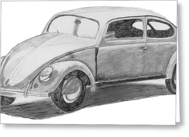 Original Vw Beetle Greeting Cards - Original VW Beetle Greeting Card by Catherine Roberts