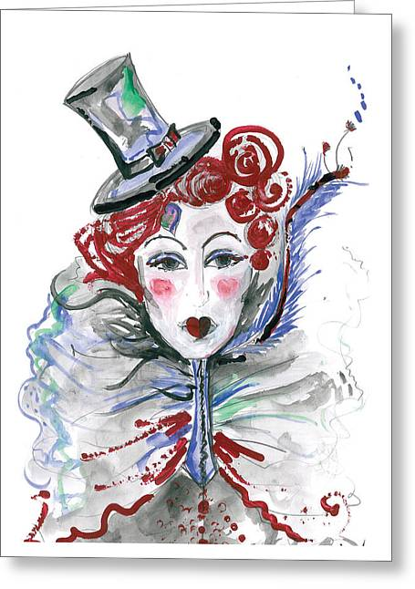 Gray Hair Greeting Cards - Original watercolor fashion illustration Greeting Card by Marian Voicu