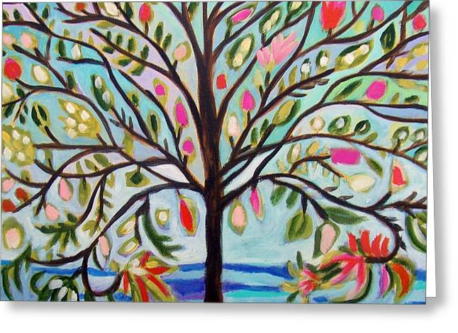 Abstract Style Greeting Cards - ORIGINAL Waterfront Tree Greeting Card by Karen Fields