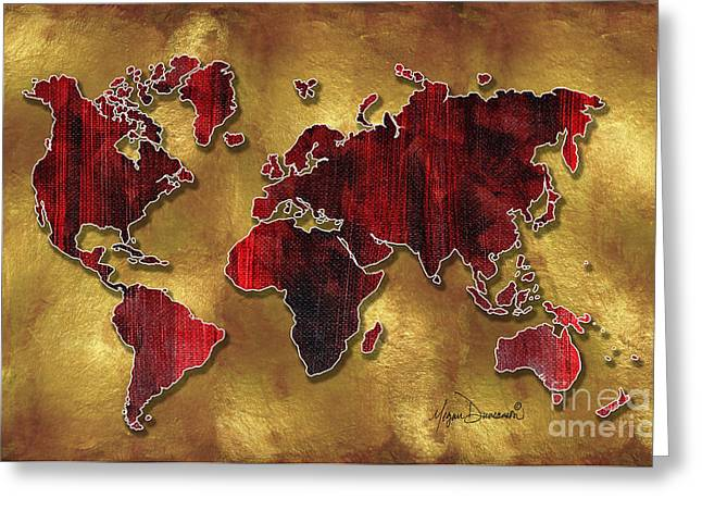 Licensor Mixed Media Greeting Cards - Original World Map Design Gold and Vibrant Red Unique Art by Megan Duncanson Greeting Card by Megan Duncanson