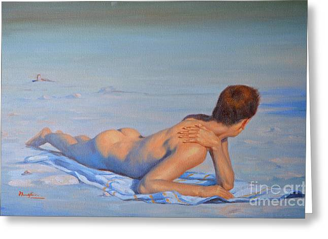 On The Beach Drawings Greeting Cards - Original Young Man Oil Painting  Body Gay Art- Male Nude  Lying On The Beach-061 Greeting Card by Hongtao     Huang