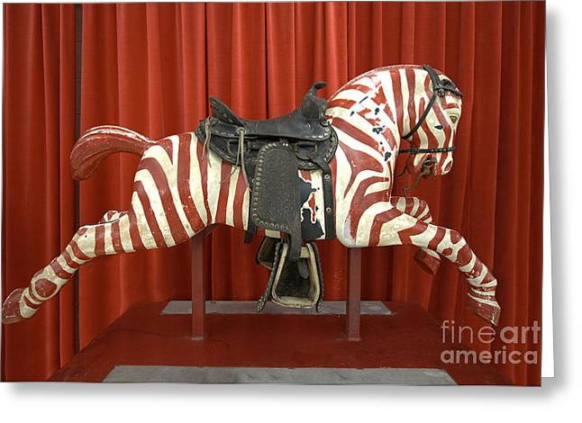 Galloper Greeting Cards - Original Zebra Carousel Ride Greeting Card by Liane Wright