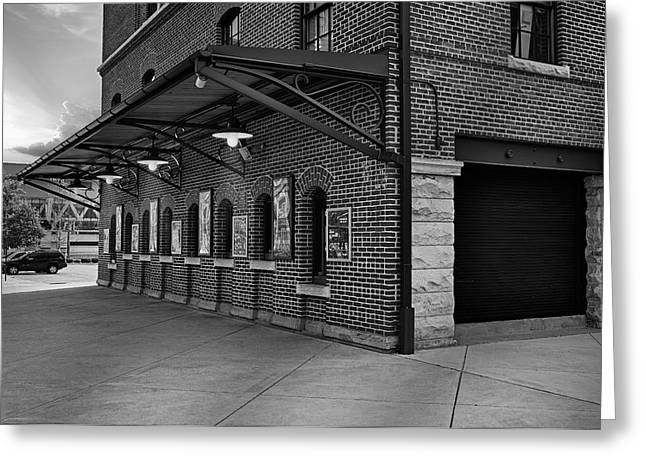 Oriole Park Box Office Bw Greeting Card by Susan Candelario