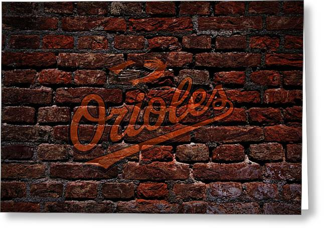 Centerfield Greeting Cards - Orioles Baseball Graffiti on Brick  Greeting Card by Movie Poster Prints