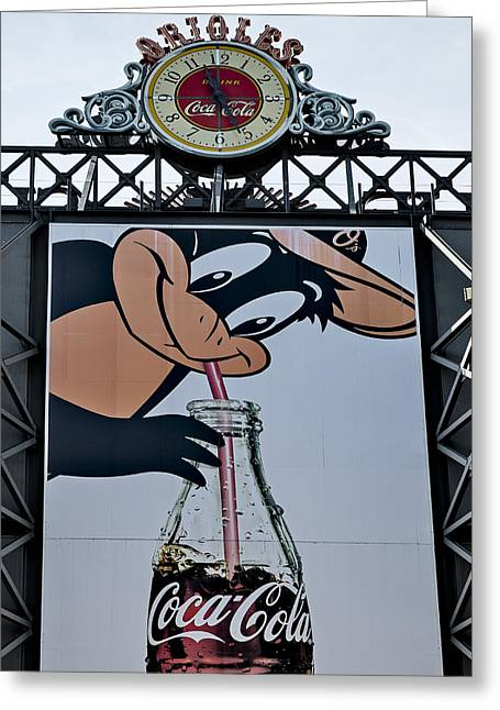 Oriole Park Greeting Cards - Orioles Mascot Drinks Coca Cola Greeting Card by Susan Candelario
