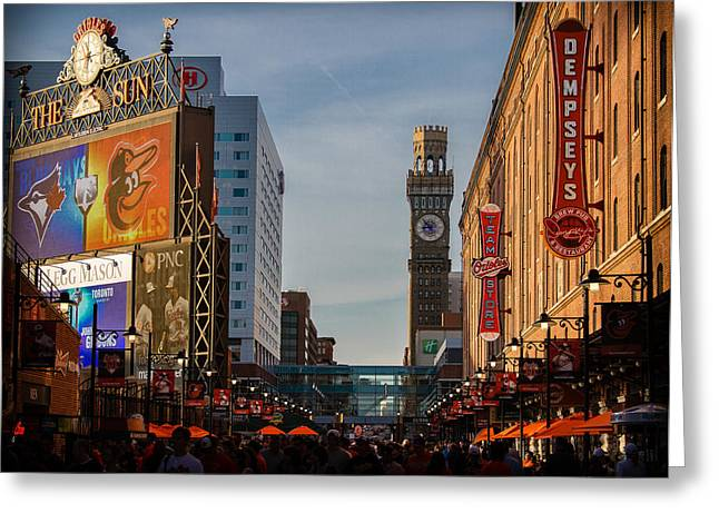 Baseball Stadiums Greeting Cards - Orioles pregame on Eutaw Street Greeting Card by Earl Ball