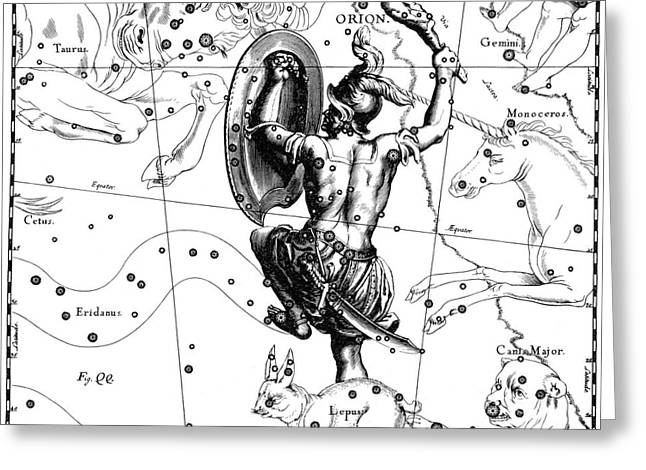 Star Chart Greeting Cards - Orion Constellation, Hevelius, 1687 Greeting Card by Science Source