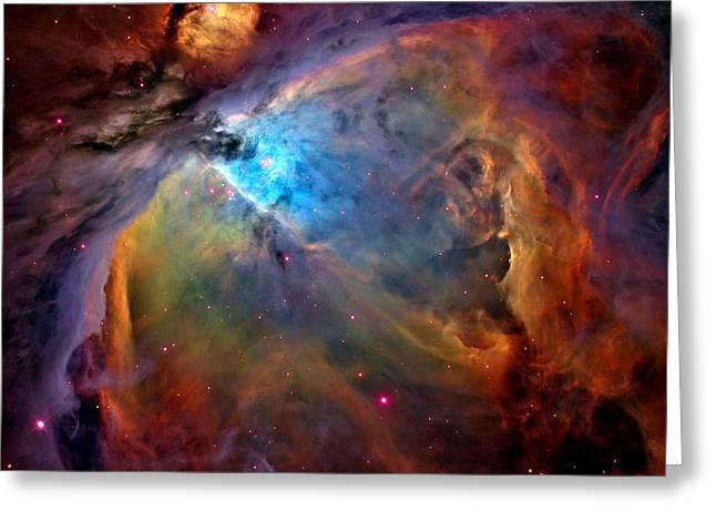 Orion Mixed Media Greeting Cards - Orion Nebula Close Up 1-3-14 enhanced Greeting Card by L Brown