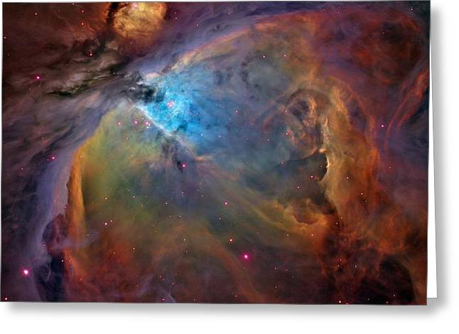 Orion Mixed Media Greeting Cards - Orion Nebula Close Up 2 1-3-14 Greeting Card by L Brown
