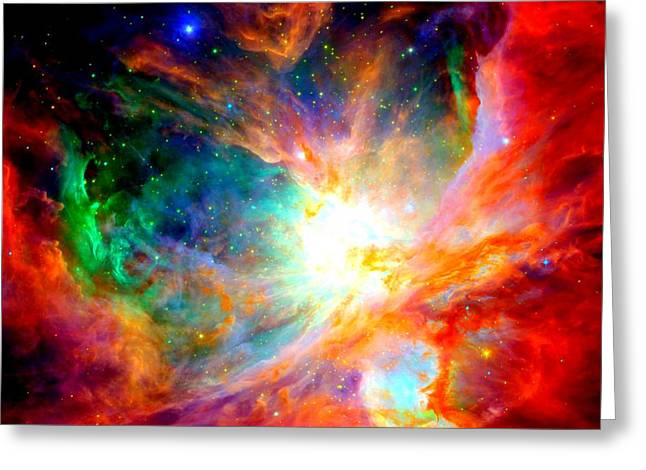 Orion Mixed Media Greeting Cards - Orion Nebula Close Up II Greeting Card by L Brown