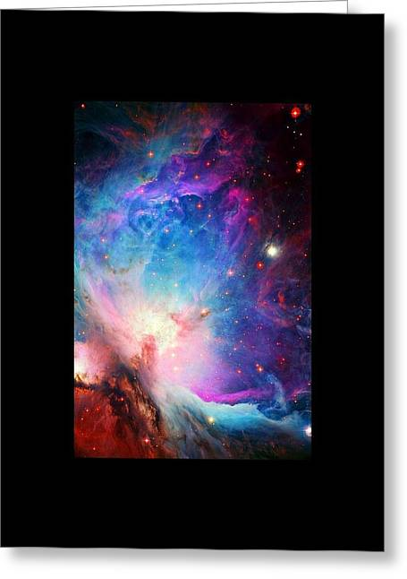 Orion Mixed Media Greeting Cards - Orion Nebula Close Up Large Black Border Greeting Card by L Brown