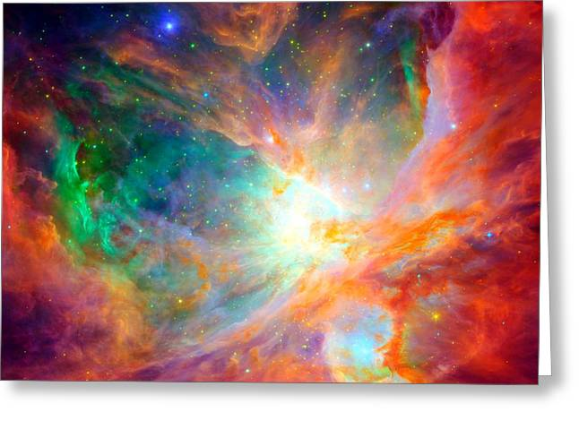 Orion Mixed Media Greeting Cards - Orion Nebula Close Up Greeting Card by L Brown