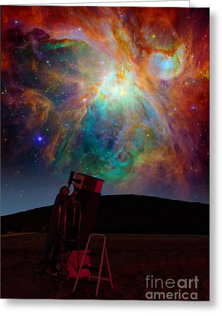 Composite Photo Greeting Cards - Orion Nebula Greeting Card by Larry Landolfi