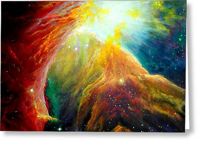 Outer Space Paintings Greeting Cards - Orion Nebula Greeting Card by SaxonLynn Arts