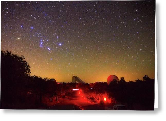 Orion Over Kitt Peak Observatory Greeting Card by Babak Tafreshi