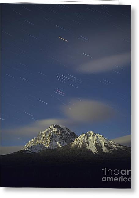 Mountain Valley Greeting Cards - Orion Star Tails Over Mt. Temple, Banff Greeting Card by Alan Dyer