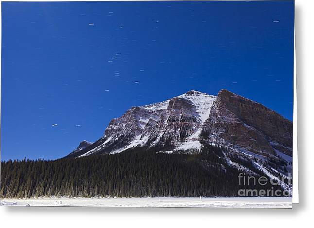 Asterism Greeting Cards - Orion Star Trails Above Mount Fairview Greeting Card by Alan Dyer