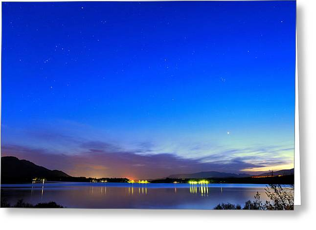 Pleiades Greeting Cards - Orion Tauro and Pleyades at sunset Greeting Card by Guido Montanes Castillo