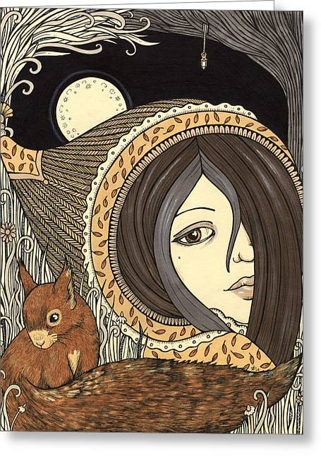 Mystic Drawings Greeting Cards - Orla Greeting Card by Anita Inverarity