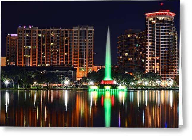 Reflecting Buildings Greeting Cards - Orlando at Night Greeting Card by Frozen in Time Fine Art Photography