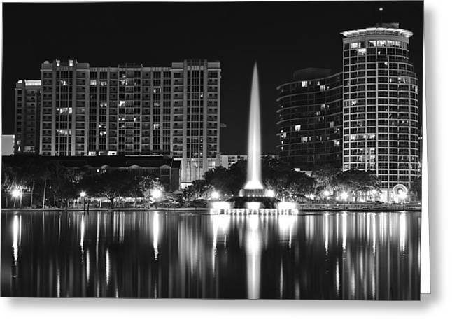 After World Greeting Cards - Orlando Black and White Night Greeting Card by Frozen in Time Fine Art Photography