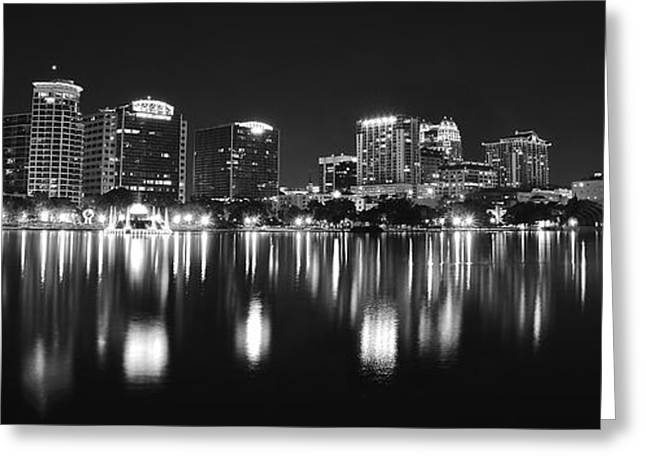 Jacksonville Greeting Cards - Orlando Black and White Panorama Greeting Card by Frozen in Time Fine Art Photography