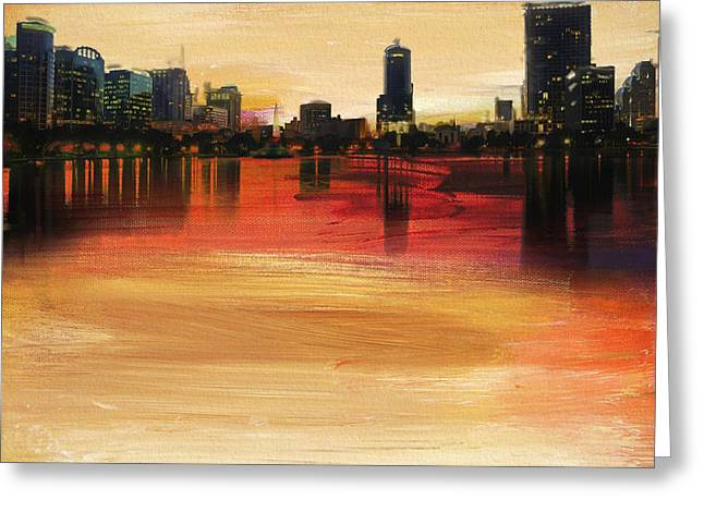 Digital Media Greeting Cards - Orlando City Skyline  Greeting Card by Corporate Art Task Force