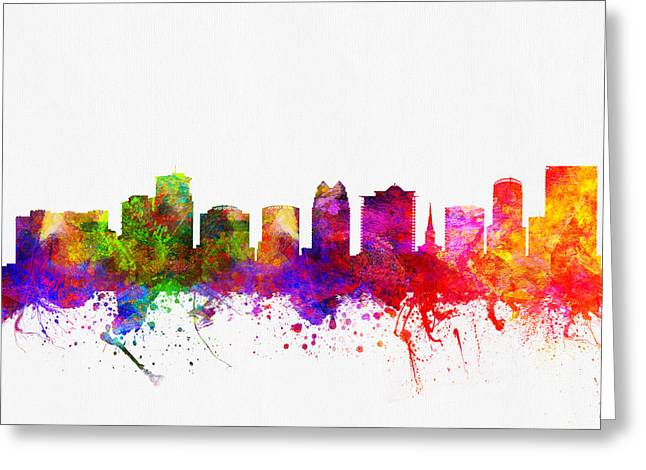 Orlando Greeting Cards - Orlando Florida Skyline Greeting Card by Aged Pixel