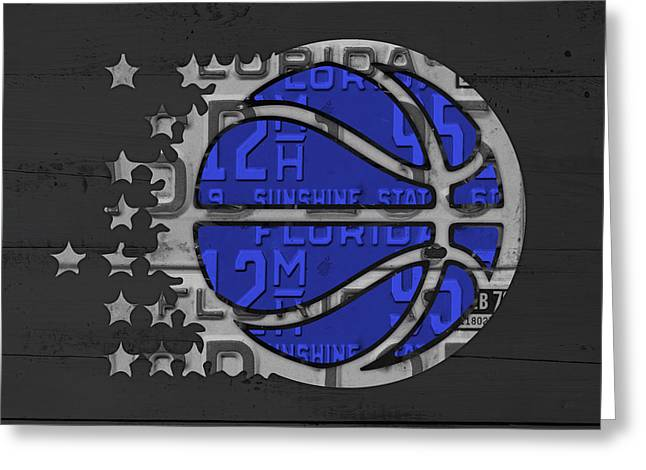 Orlando Magic Greeting Cards - Orlando Magic Basketball Team Logo Vintage Recycled Florida License Plate Art Greeting Card by Design Turnpike