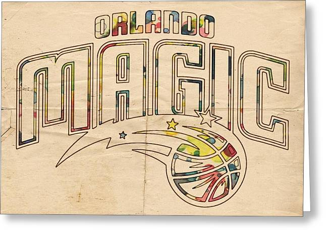 Orlando Magic Digital Art Greeting Cards - Orlando Magic Retro Poster Greeting Card by Florian Rodarte