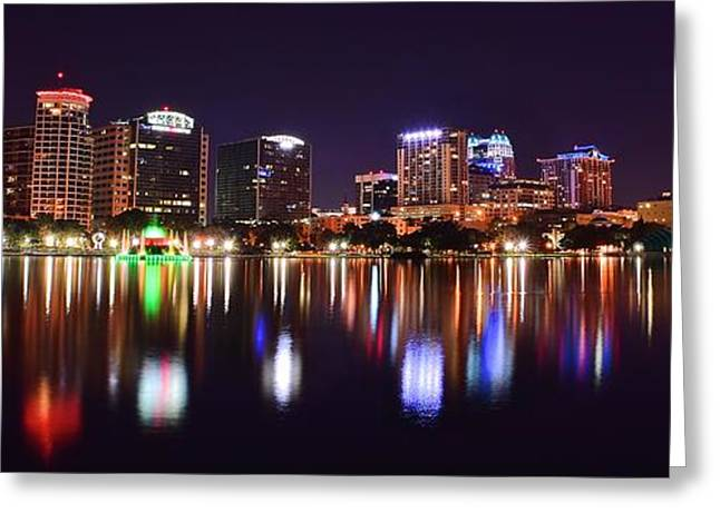 Jacksonville Greeting Cards - Orlando Over Lake Eola Greeting Card by Frozen in Time Fine Art Photography
