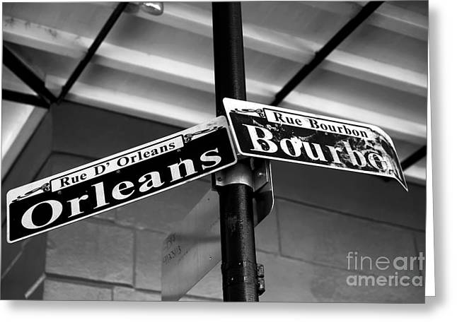 Rue Bourbon Greeting Cards - Orleans and Bourbon infrared Greeting Card by John Rizzuto