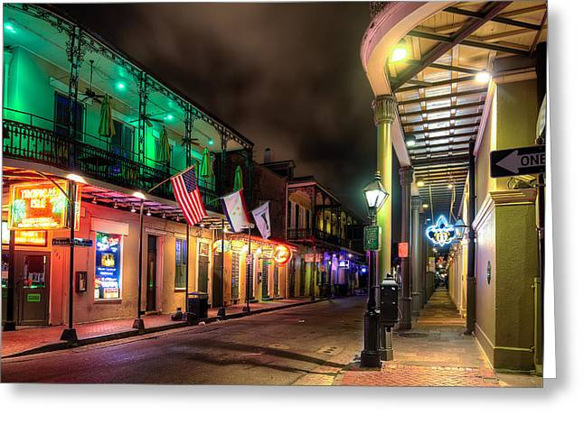 Louisiana Greeting Cards - Orleans and Bourbon Greeting Card by Tim Stanley
