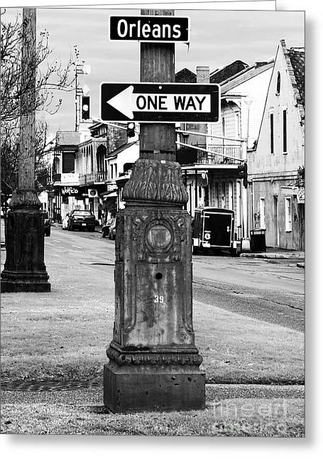Photo Photography Greeting Cards - Orleans One Way Greeting Card by John Rizzuto