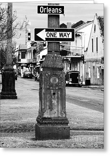 Nola Photographs Greeting Cards - Orleans One Way Greeting Card by John Rizzuto