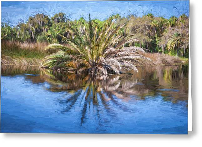 Paradise Road Greeting Cards - Ormond Scenic Loop Florida Palm Tree Painted  Greeting Card by Rich Franco