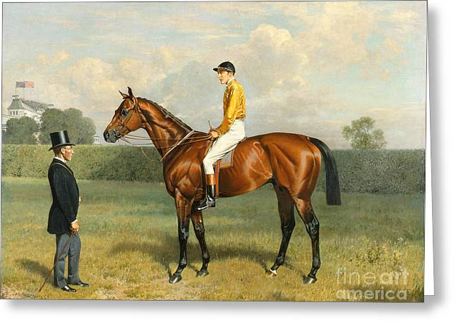 Jockey Greeting Cards - Ormonde Winner of the 1886 Derby Greeting Card by Emil Adam
