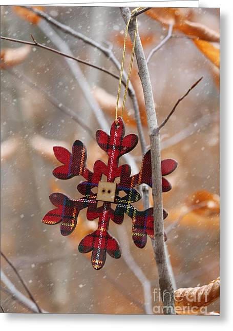 Snow Falling Greeting Cards - Ornament hanging on branch with snow falling Greeting Card by Sandra Cunningham