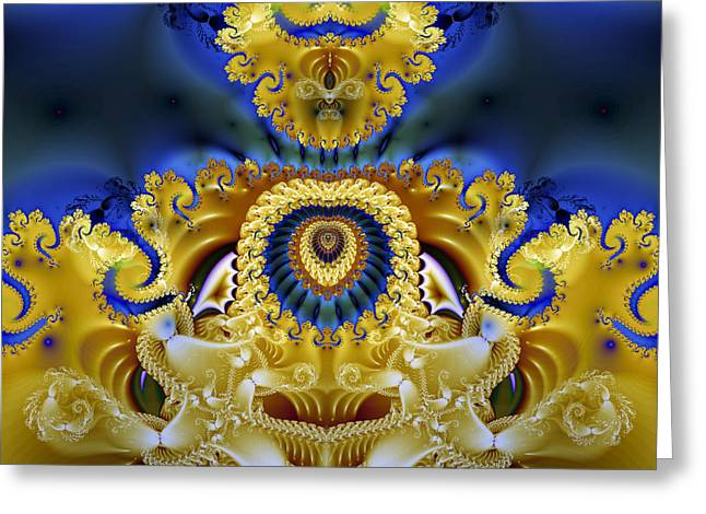 Manley Greeting Cards - Ornamental Fountain - A Fractal Design Greeting Card by Gina Lee Manley