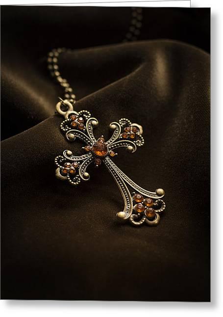 Value Greeting Cards - Ornamented cross with orange gems Greeting Card by Jaroslaw Blaminsky