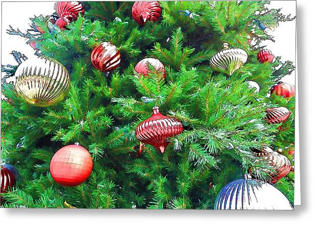 Ornaments So Bright Greeting Card by Audreen Gieger-Hawkins