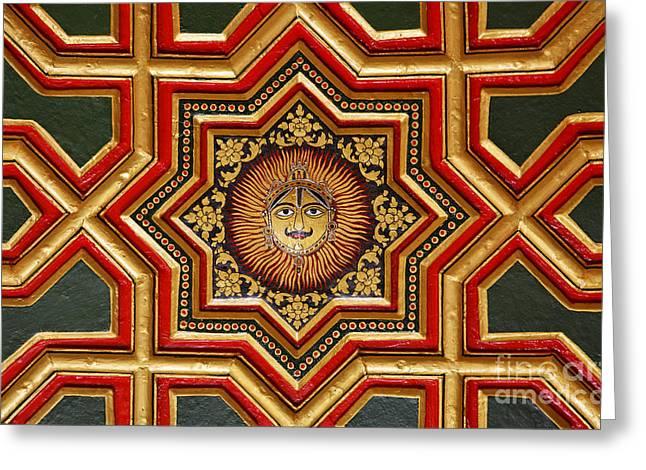 Geometric Design Photographs Greeting Cards - Ornate ceiling at Junagarh Fort at Bikaner in India Greeting Card by Robert Preston